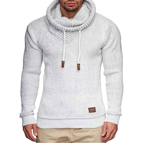 ZOGAA New Men's Jacket Jacquard Long-sleeved Knit Sweater Pile Collar Warm Fashion Solid All-match Big Size Chic Sweater for Men