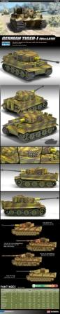 "Academy 13314 Tiger 1 ""Late Version"" Tank Kit 1:35 Scale"