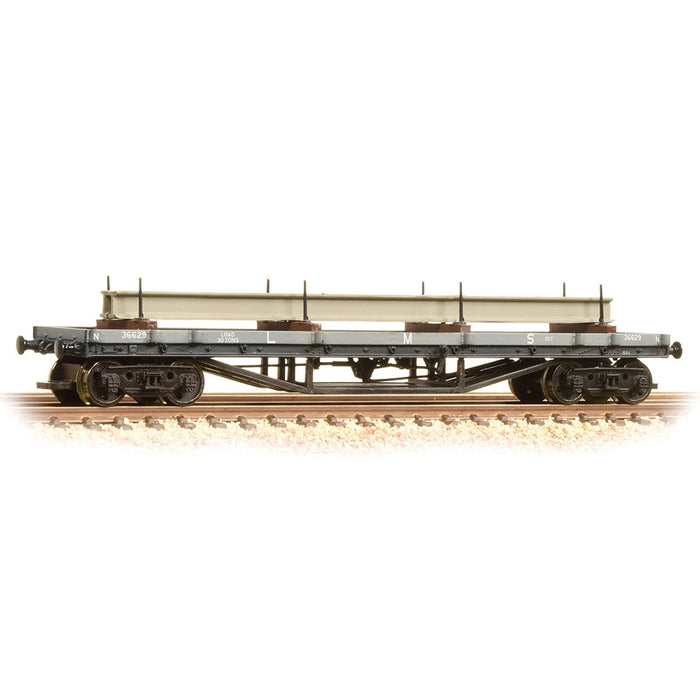 Graham Farish 373-929 30t Bogie Bolster Wagon LMS Grey with Load - N Gauge