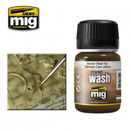Ammo Mig 1000 Enamel Wash - Brown Wash for German Dark Yellow - 35ml Jar