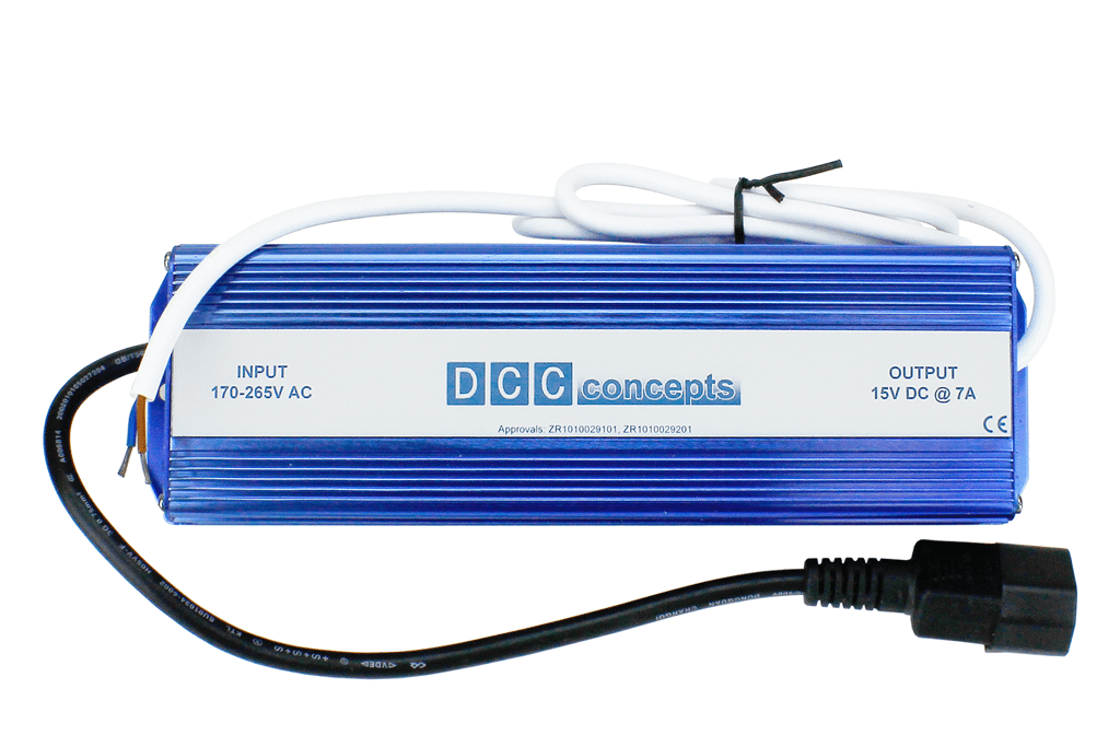 DCC Concepts DCC-PS7 DC / DCC Power Supply 7A/15v Regulated DC For DCC Systems