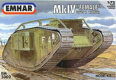 "Emhar EM5002 WWI Heavy Battle Tank MkIV ""Female"" 1:72 Scale"