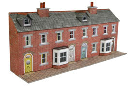 Metcalfe PN174 Low Relief Red Brick Terraced House Fronts - N Scale