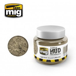 Ammo Mig 2102 Acrylic Mud - Light Earth Ground (for Dioramas) - 250ml Jar
