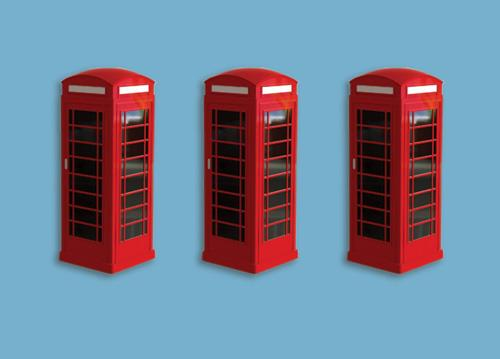 Modelscene 5190 Telephone Boxes Kit (3 per pack) - N Scale