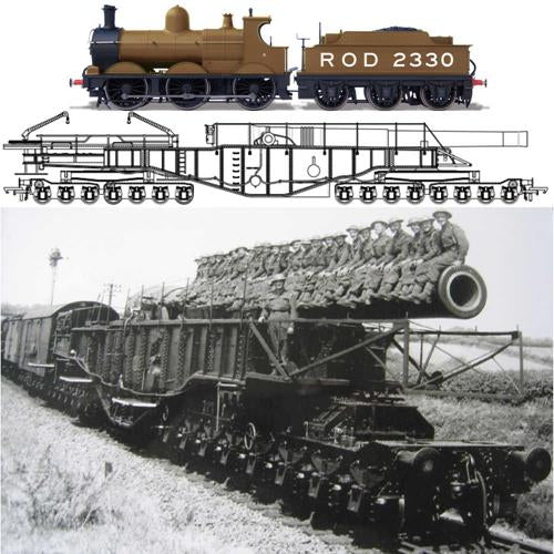 Oxford Rail OR76BOOM01XS Rail Gun WWI Boche Buster Camouflage and ROD2330 0-6-0 Loco Pack with DCC Sound - OO Scale
