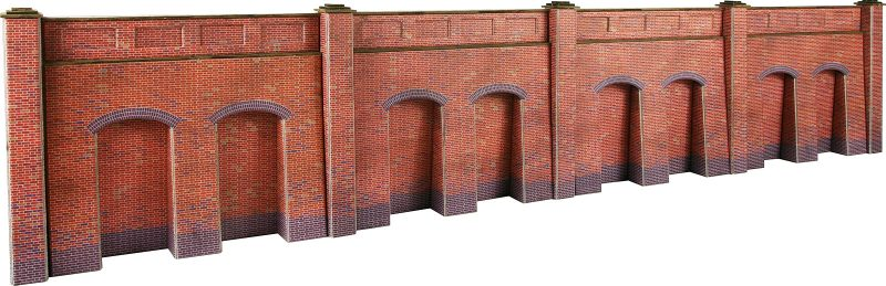 Metcalfe PO244 Red Brick Retaining Wall Card Kit - OO / HO Scale