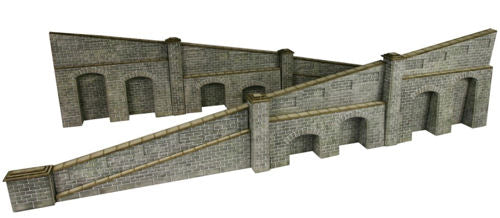 Metcalfe PO249 Tapered Retaining Wall in Stone - Card Kit - OO / HO Scale