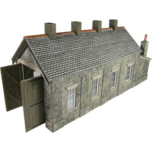 Metcalfe PO332 Stone Single Track Engine Shed Kit - OO / HO