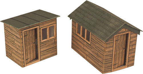 Metcalfe PO512 Garden Sheds Kit - This kit contains parts for 2 sheds (Laser Cut Card) - OO / HO Scale
