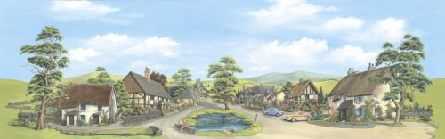 Peco SK-15 Village with Pond Backscene - Large (228mm x 736mm) - Suitable for scales Z to O
