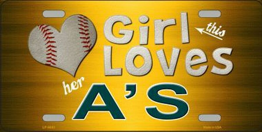 This Girl Loves Her A's License Plate