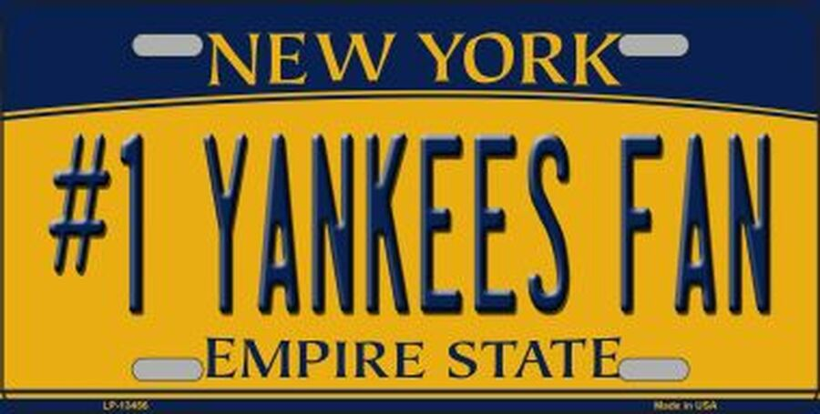 Number 1 Yankees Fan New York State Novelty Metal License Plate