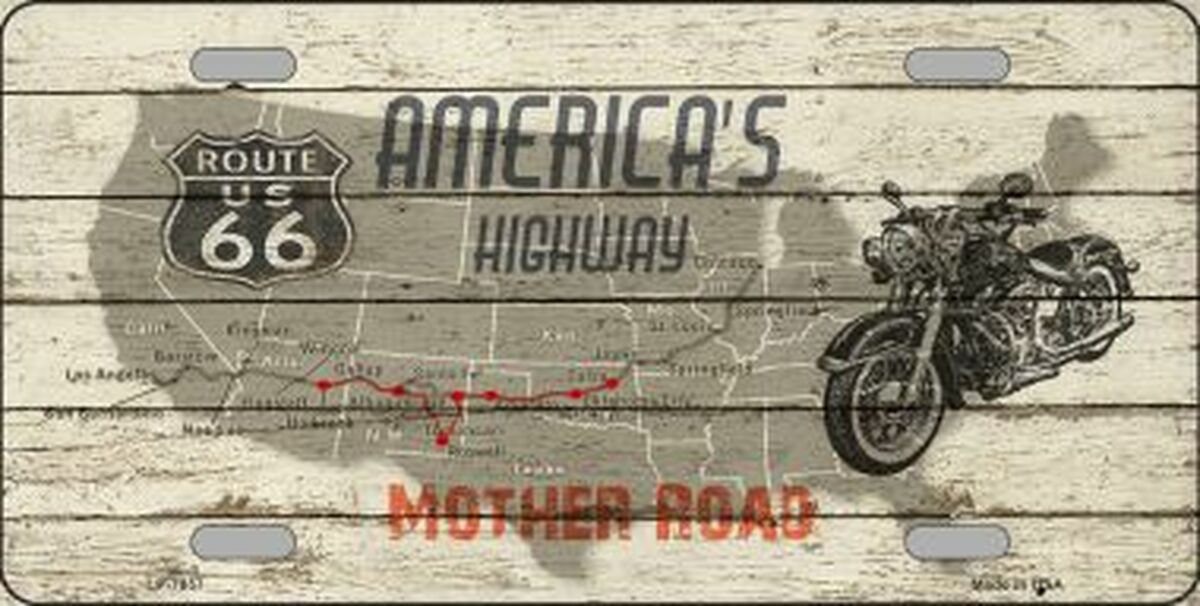 Route 66 Mother Road License Plate Sign
