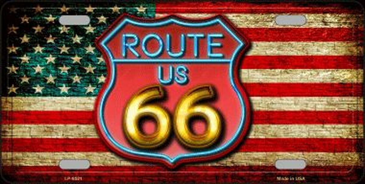 Route 66 American Flag License Plate Sign