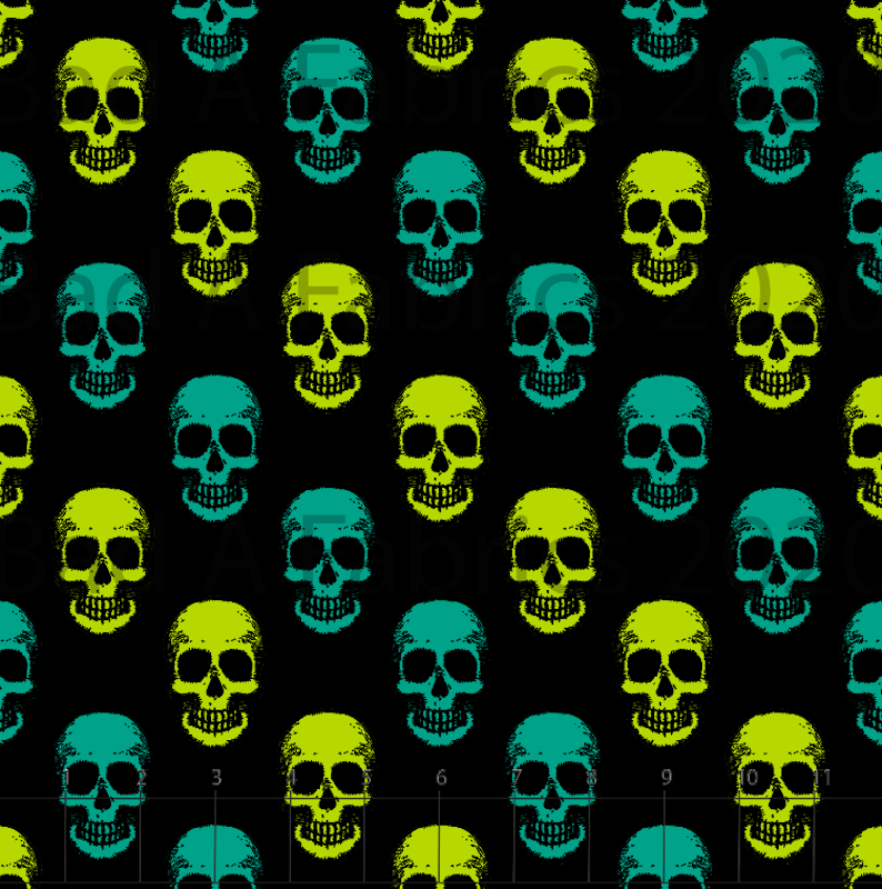 Green Skulls Cotton Woven (Retail)