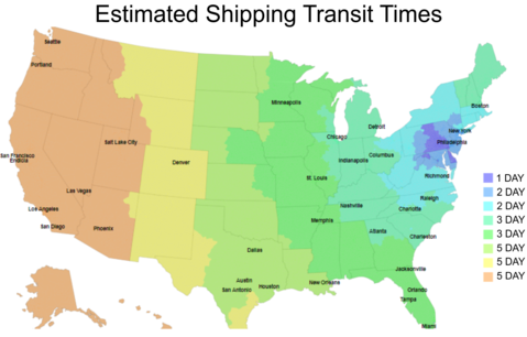 Map of estimated shipping transit times