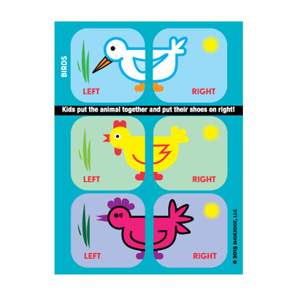 Shoezooz - Educational Shoe Stickers - Birds