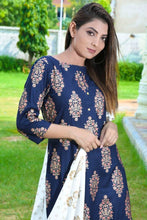 Load image into Gallery viewer, Beautiful Stylish Rayon Kurta with Bottom and Dupatta Set for Women's