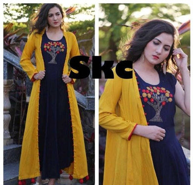 Elegant Rayon Embroidered Women's Kurti & Jacket Set