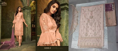 Festival Wear Peach Color Embroideried Work Pakistani Style Pant style Butterfly Net Salwar Suit