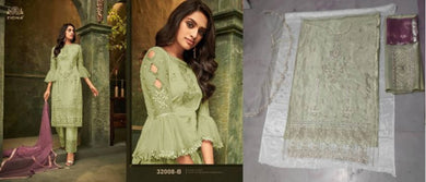 Festival Wear Green Color Embroideried Work Pakistani Style Pant style Butterfly Net Salwar Suit