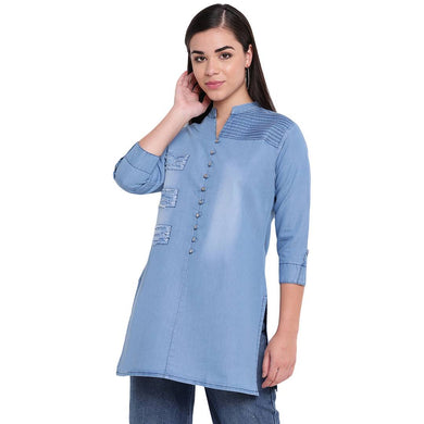 Women's Stitched Blue Denim Kurti
