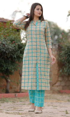 Cotton Check Shtraight Kurta With Pant Set