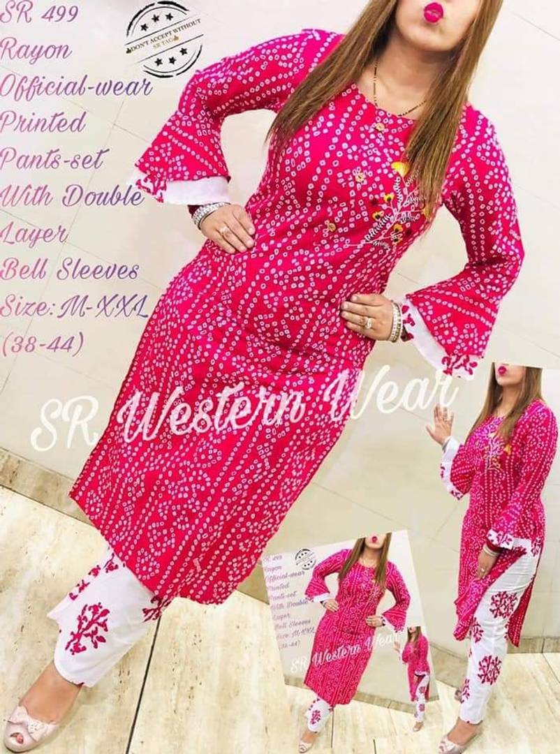 Women's Rayon Printed Embroidery Kurta With Pant