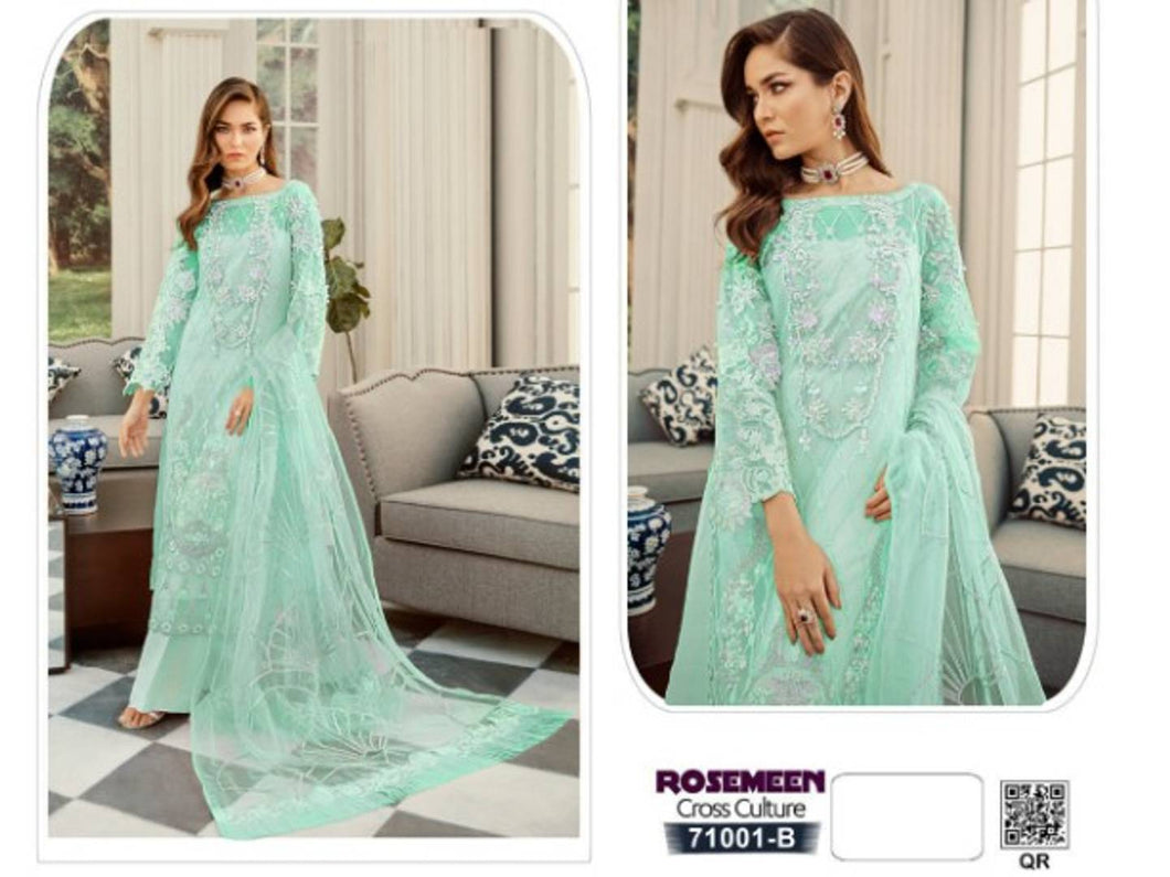 Heavy Nylon Net Fabric Zari embroideried Worked Pakistani style Straight Salwar Suit