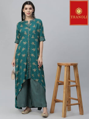 Elite Green Rayon Printed Pakistani Style Kurta Palazzo Set For Women