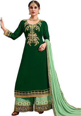Beautiful Designer Embroidery Green Georgette Pakistani Plazo With Long Kameez