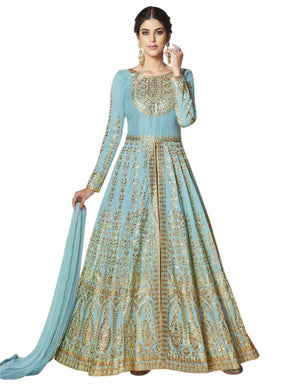 Latest Designer Ladies Sky Blue Long Silk Pakistani Anarkali Suit