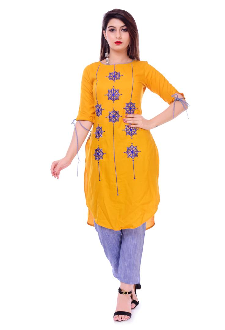 Stunning Yellow Rayon Embroidered High-low Kurta For Women
