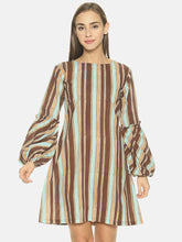 Load image into Gallery viewer, Women'S Casual Pure Cotton Striped Above Knee A-Line Kurta