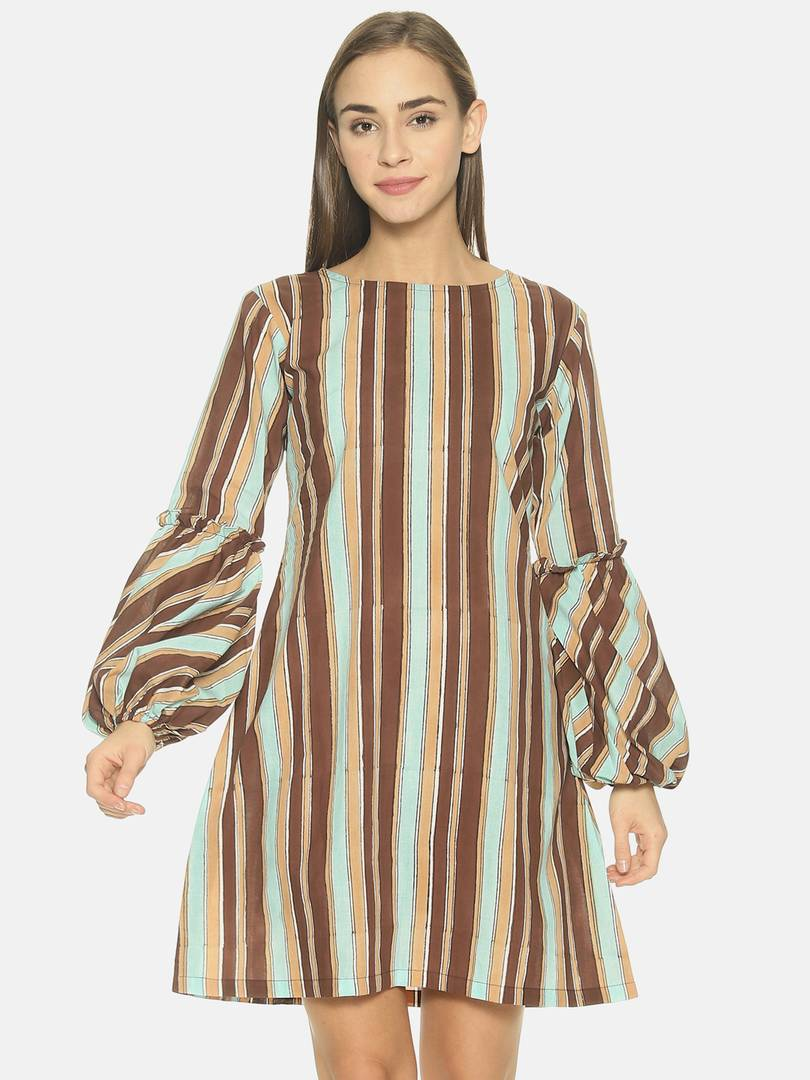 Women'S Casual Pure Cotton Striped Above Knee A-Line Kurta