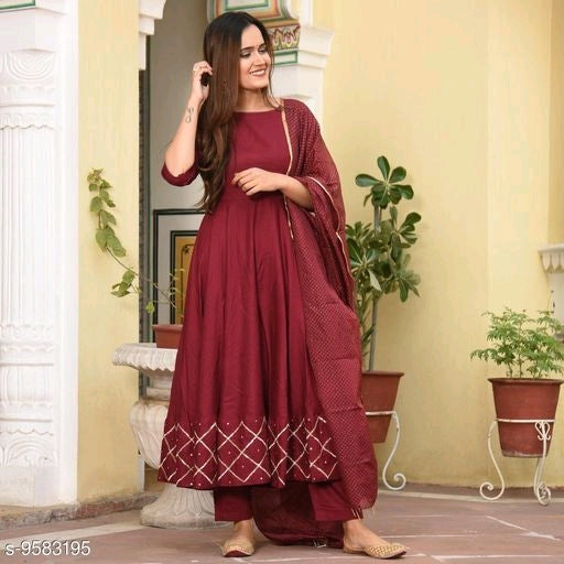 Anni Collections Red Color Rayon Kurti Dupatta Set (BUNNAI RED_S)
