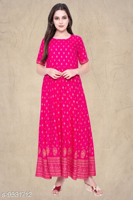 Women's Printed Rayon Long Anarkali Kurti