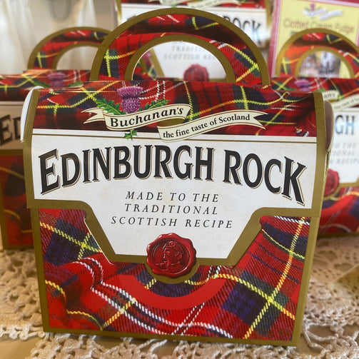Edinburgh Rock Candy in Red Tartan Gift Box in Purse Shape Traditional Scottish Sweets from Queen of Hearts Tea House Kitchener