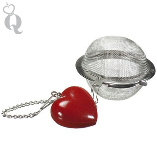 This heart mesh ball allows you to steep loose leaf tea in a mug, cup, or tea pot, from Queen of Hearts Tea House Kitchener.