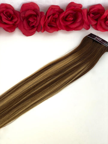 Chocolate & Butterscotch Hand Tied Weft - Scarlett Hair Extensions
