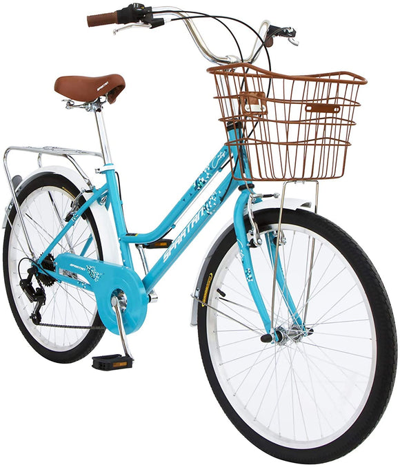 Spartan 24 City Bike -Bicycle Teal with shopping basket