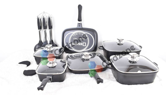 Dessini 21-Piece Non-Stick Cookware with Grill Pan