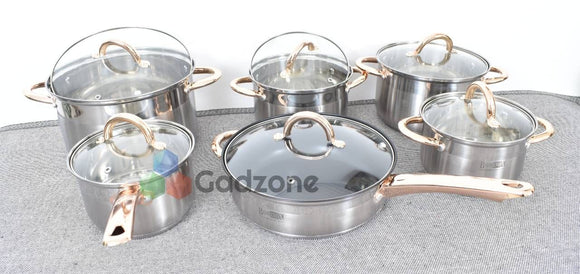 Stainless Steel 21-Piece Cookware with Non-Stick Deep Sauté Pan