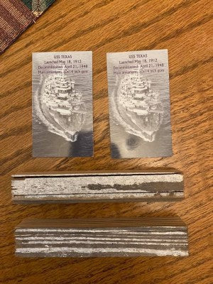 Image - Two pieces of wood from the USS Texas battleship with COAs