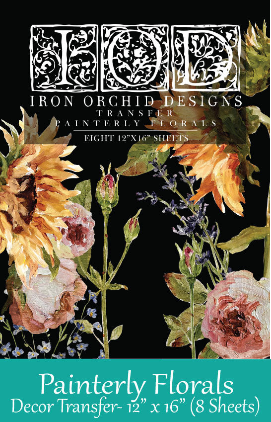 Painterly Florals Transfer by Iron Orchid Designs