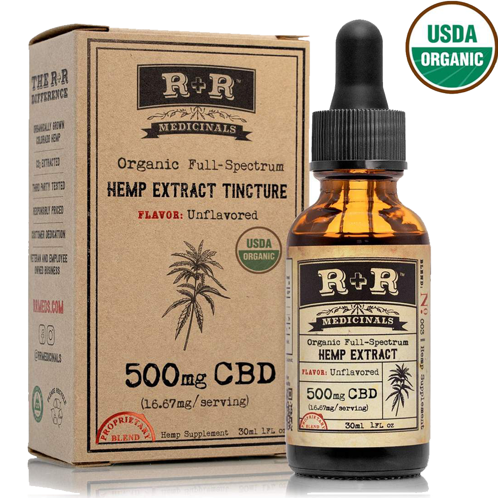R & R meds CBD hemp tincture w/brochure
