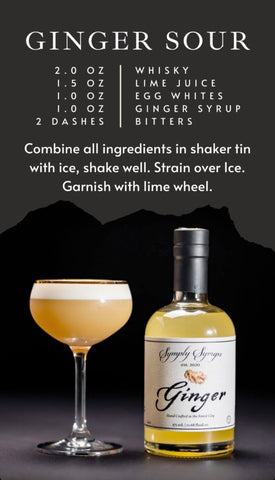 Ginger Sour Cocktail with ginger simple syrup
