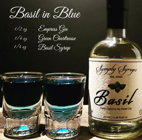 Basil simple syrup shooter