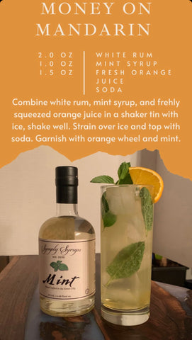 Money On Mandarin Cocktail with mint simple syrup
